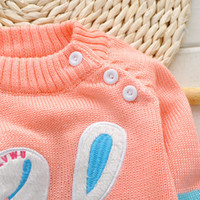 Wholesale Girls Cardigan Retail - Retail 2-4Y lovely rabbit baby Cardigans and sweaters Autumn Winter warm sweaters for girls new 2015 sweater knitted sweater