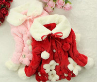 Wholesale Long Winter Jackets For Kids - Free Shipping 1pc lot Autumn Winter Children Girl Coat Kids Child Flower Outerwear Faux Fur Coats Jackets For Girls Gift
