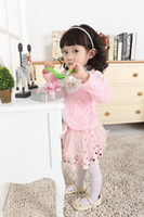Wholesale Kids Skirt Shirt Design - Free Shipping 2015 Fashion Design 3pcs Baby Girl Kids Toddler Infants Children Top Coat+T-shirt+Skirt Tutu Clothes Outfit Set