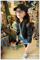 Wholesale Black Leather Jacket Size 12 - size 8 160 170 cm 2015 new arrival high quality kids girls leather jacket girls autumn coat brand children jacket black teenage