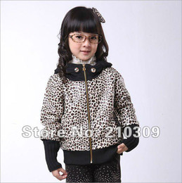 Wholesale Girls Leather Leopard Jacket - Free shipping 4pcs lot size110-120-130-140cm girls jacket leather children's clothing wholesale Leopard with Hooded