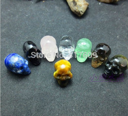 Wholesale Carved Stone Figurines - Natural Polished Lapis Lazuli Tiger Eye Smoky White Obsidian Rose Quartz crystal stone Skull Carved Figurine Healing