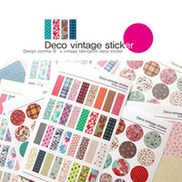 Wholesale Deco Paper Vintage - 6X Vintage Color Paper Sticker Diary Planner Journal Scrapbook Ablums Photo Decorative Gift Seal Tag Label Deco Free Shipping
