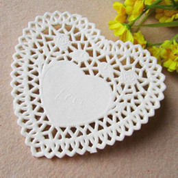 Wholesale Paper Doilies Heart - Free Shipping, Create and Craft 10cm=4'' Heart White Paper Lace Doilies Placemat Wedding Decoration-200pcs lot