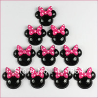 Wholesale Minnie Mouse Resin Flatbacks - Wholesale-50 pcs Black Minnie Mouse Pink Bow Resin Flatbacks Flat Back Scrapbooking Girl Hair Bow Center Crafts Making Embellishments DIY