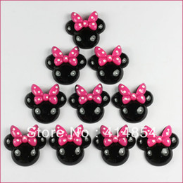Wholesale Bow Flatbacks - Wholesale-50 pcs Black Minnie Mouse Pink Bow Resin Flatbacks Flat Back Scrapbooking Girl Hair Bow Center Crafts Making Embellishments DIY