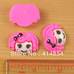 Wholesale Bow Flatbacks - Wholesale-Wholesale 50pc Hot Pink Hair Lalaloopsy Resin Cabochon Flatbacks Flat back Scrapbooking Hair Bow Center Crafts Embellishment DIY