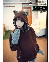 Wholesale Cute Hoodies Animal Ears - Women's Cute Hoodies with Cat Ears Thinckening Fleece Lady hoodie Sweatshirts With Animal Ears Student Pullover Coat Outerwear