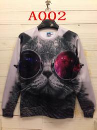 Wholesale Galaxy Print Hoodie Womens - Mens womens Glasses cat print Animal 3D Sweatshirt Space Galaxy tshirts hoodie Sweatshirts unisex Top jumper Pullover