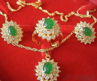 18k gold jade halskette anhänger großhandel-Emerald Jade 18K GP Kristall Anhänger Halskette Ohrringe Ring / Edelstein-Schmuck-Sets