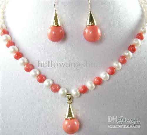 2018 real white pearl pink coral pendant necklace earrings pearl see larger image mozeypictures Gallery