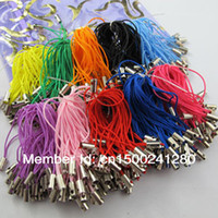 Wholesale Mobile Phone Dangle Charms - Free Shipping 200Pcs Charm Mobile Phone Dangle Strap String Thread Cord 52mm Black White Red Mixed For Jewelry Making Craft DIY