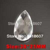 avizeler için kristal damla toptan satış-Promosyon! 50 ADET 38 * 21 MM Temizle Kristal Faceted Gözyaşı Su Damlası, Cut Prizma Asılı Kolye Takı Avize Parçası Akrilik boncuk