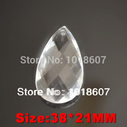Wholesale Chandelier Teardrops - Promotion!50PCS 38*21MM Clear Crystal Faceted Teardrop Water Drop,Cut Prism Hanging Pendant Jewelry Chandelier Part Acrylic bead