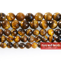 "Wholesale Natural Stone Faceted Beads - Free Shipping Natural Stone Faceted Brown Gold Tiger Eye Agate Round Beads 16"" Strand 6 8 10 12 MM Pick Size For Jewelry SAB33"