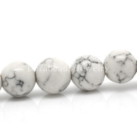 Wholesale White Crackle Beads - Free Shipping! Turquoise Loose Beads Round White Crackle 8mm Dia,39.3cm long,Approx 98PCs (B24372)