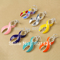 Wholesale mixed enamel Autism Cancer AWARENESS Ribbon Charms pink silver yellow blue purple ribbon charm