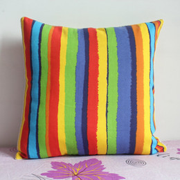 Wholesale Knitted Cushion Cover For Beds - Pillowcase 1PCS 19 inch (50cm*50cm) Rainbow Stripes Cotton Pillow Cushion Cover For Sofa or Bed P34