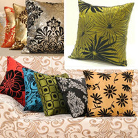 Wholesale Taffeta Throw Pillow Case - NEW RETROL HOME BED SOFA THROW PILLOW CASES CAR BACK CUSHION COVERS 5COLORS