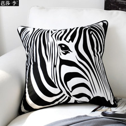 Wholesale Zebra Home Decor - H3102 Classic Creative Black White Zebra Print Cotton Cushion Cover Throw Pillow Case Seat Car Pillow Cover Pad Home Decor Gift