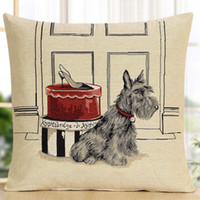"""Wholesale Pillow Pet 18 - Cute Retro Vintage Scottish Terrier Dog Puppy Pet Shoe Box Knitted Decorative Pillow Case Cushion Cover 18"""" Free Shipping"""