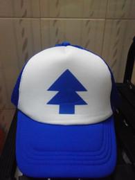 Wholesale Wholesale Trucker Hats Free Shipping - Wholesale-New Curved Bill BLUE PINE TREE Dipper Gravity Falls Cartoon Hat Cap Trucker Free Shipping