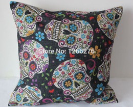 "Wholesale Bamboo Charcoal Car Cushion - 1PCS 17""x17"" Vintage Sugar Skull Cotton Linen Sofa Decoration Car Decoration Throw Pillow Cushion Cover For Home Decor 001"