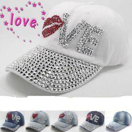 Wholesale Diamond Snapback For Girls - Wholesale- Retail Diamond LOVE Letters summer women baseball cap rhinestone men's snapback hats for Girls Teens Lady