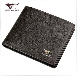 Wholesale Septwolves Wallets - 2015 Septwolves Genuine Leather Fashion Men's Wallet Male Short Design Cowhide Leather Wallet for Men Purse Casual Card Holder
