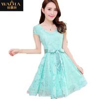 Wholesale Noble Cozy Summer Dress - 2015 new hot summer Fashion Cozy women clothes Noble elegant short sleeve lace chiffon dress Korean casual sweet solid