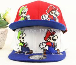 Wholesale Mario Hat Cartoon - Wholesale- New Cartoon Children's Snapback Caps Mario Baseball Cap Sports Casquette Hat Hiphop Caps For Kids Free Shipping