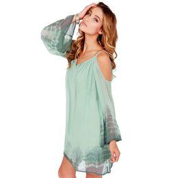 Wholesale Tie Dye Chiffon Long Dress - Gradient Strapless Strap Loose Chiffon Dress Long Sleeve Tie Dye Casual Dress Plus Size New 2015 vestido de festa haoduoyi