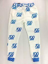 Ropa de dibujos animados emoji online-Nuevo 100 emoji joggers pantalones mujeres blanco / negro para pantalones sweatpant dibujos animados 100 emoji joggers pantalones traje ropa