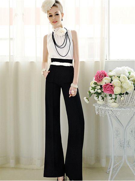 Pantalones 2015 Pantalones de moda para mujer Elegante OL Pantalones de cintura alta Pantalones de cintura alta sueltos WP420 para damas de oficina de alta calidad
