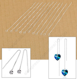 Wholesale Earrings Supplies - Free Shipping 20Pcs Ear Threads Making Jewelry Findings 925 Sterling Silver Box Line Chain Earring Supplies For Crystal Beads