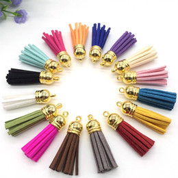 Wholesale Tassel Mobile - Free Shipping 35mm 100cs lot Handmade Leather Tassel Charms Cell Mobile Phone Straps Accessories,Gold Top Silver Top Choose