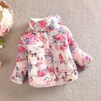 Wholesale Cotton Padded Jacket Baby - Wholesale-girls warm coat 2015 new baby winter long sleeve flower jacket children cotton-padded clothes kids christmas outwear a-061