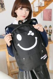 Wholesale Beige Smile Bag - 1pcs lot free shipping Casual Cartoon Smile Face Men Women Backpack Student Bag preppy style cartoon nylon 5colors for choice