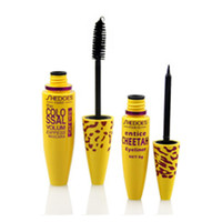 Wholesale Cheetah Sets - Wholesale-High Quality Professional Make up Set Leopard Colossal Black Mascara + Liquid Entice Cheetah 2 in 1 set women