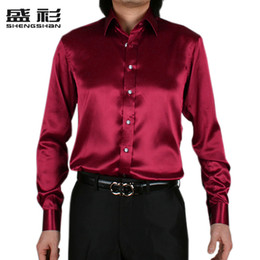 Wholesale Wine Red Silk Shirt - 2015 Wine red faux silk silks and satins slim shirt male fashion wedding dress groom long-sleeve shirt