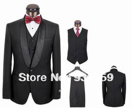 Wholesale Elegant Black Suits For Men - Groom Tuxedos Best Man Peak Lapel Bridegroom Men Wedding Suits(Jacket+Pants+Tie+Vest) TX205 elegant suit for men wedding
