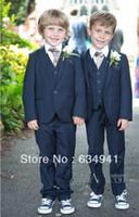 Wholesale Style Complete Designer Boy - Top sell Custom made Kid Clothing New Style Complete Designer Boy Wedding Suit Boys Attire navy blue(Jacket+Pant+Tie+Vest)tuxedo