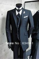 Wholesale Korean Tuxedo Jackets - Black Peak Lapel Groom Tuxedos Best Man Suits Groomsmen Men Wedding Suits (Jacket+Pants+Vest+Tie) slim fit suit korean tuxedo