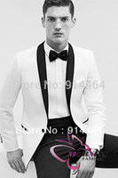 Wholesale Morning Suit White - Factory Price 2015 Free EMS MORNING FASHION Custom Made Groom Wear men's suit(white jacket black shawl lapel +pants + tie )