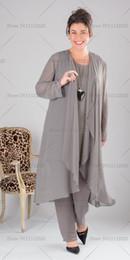 Wholesale Elegant Dresses Suit - plus size Elegant Gray Chiffon mother of the bride dresses pant suit with long top Plus size