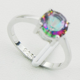 Wholesale Mystic Rainbow Rings - Concave Cut Rainbow Mystic Topaz 925 Sterling Silver Wedding Party Attractive Design Ring Size 5 6 7 8 9 10 11 12 A28 Free Ship