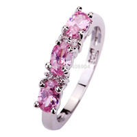 Wholesale Ring Pink Topaz - Wholesale Sweet Lady Oval Cut Pink Topaz & White Sapphire 925 Silver Ring Size 6 7 8 9 10 11 12 Love For PROMISE New Women Gift