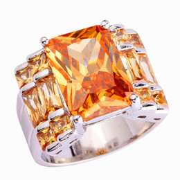 Wholesale Emerald Rings For Women - Wholesale Noble Unisex Jewelry Emerald Cut Morganite 925 Silver Ring New Rings Size 7 8 9 10 FOR Women PARTY'S Free Shipping
