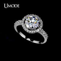 Wholesale Ideal Cut Diamonds - UMODE Hearts & Arrows Ideal cut Swiss Cubic Zirconia Diamond Halo Engagement Ring UR0012