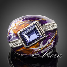 Wholesale Royal Wedding Bands - AZORA Royal Design Platinum Plated Stellux Austrian Crystal Multicolour Oil Painting Pattern Ring TR0092
